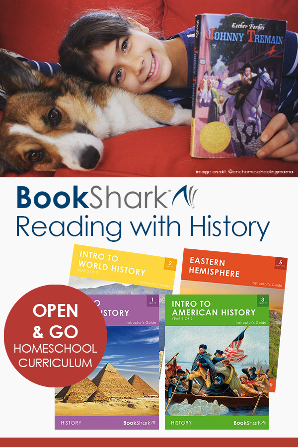 BookShark Reading with History homeschool curriculum: literature-based, 4-day, faith-neutral (secular), structured curriculum for flexible families.