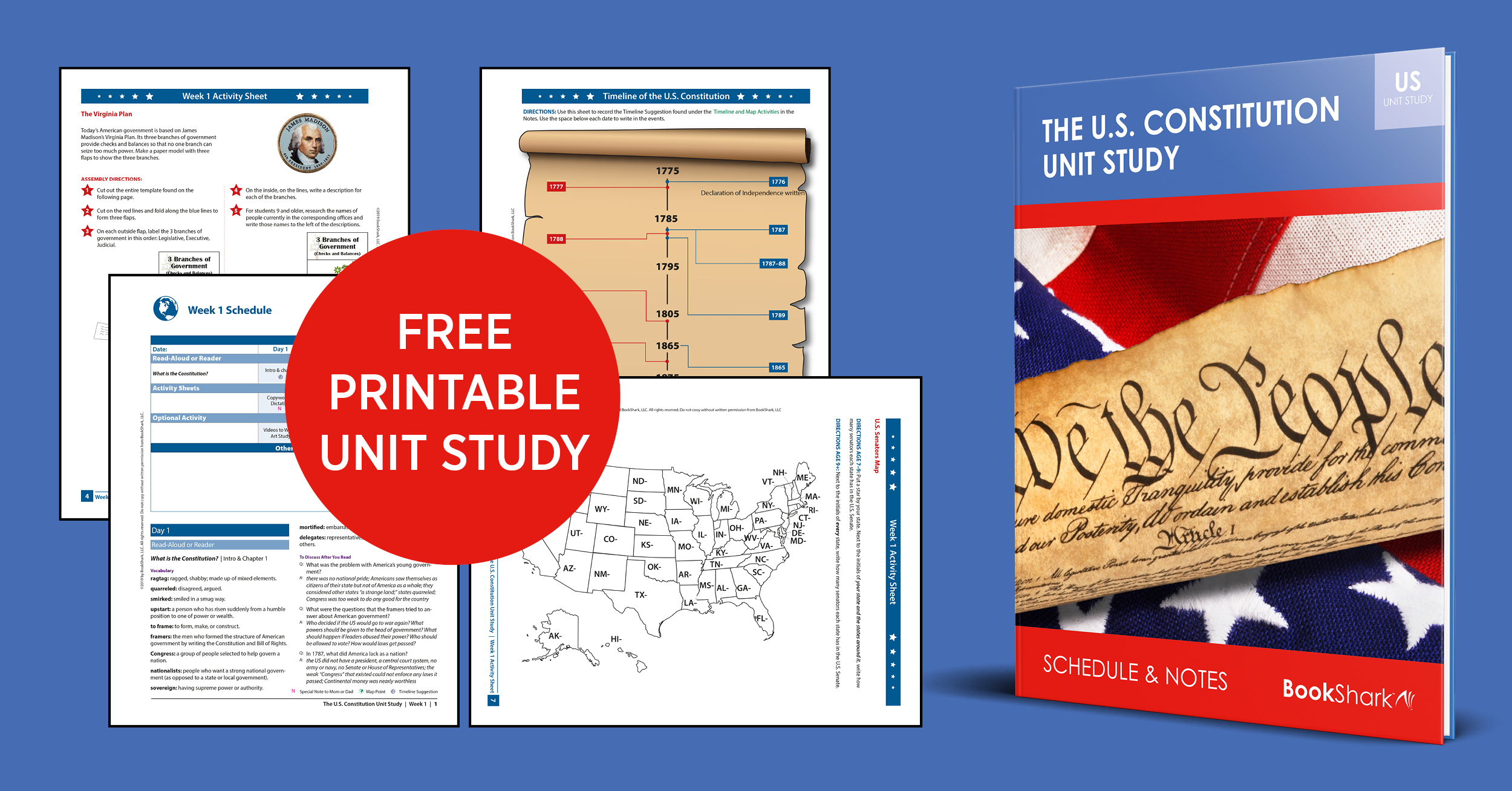 free American Constitution Unit Study